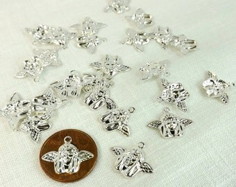 Angel Charm Silver Plate Celestial 25 pieces 17x11mm Jewelry Supply decor scrapbooking Cherub charm