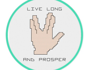 Live Long and Prosper Cross Stitch Pattern - Star Trek Cross Stitch Pattern