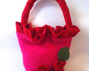 Purse - Girls Purse - Child's Handbag - Teens Purse Of Felted Wool