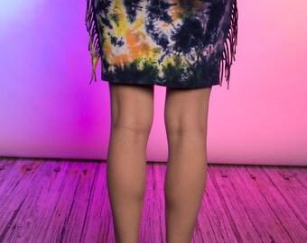Tie Dye Fringe Skirt