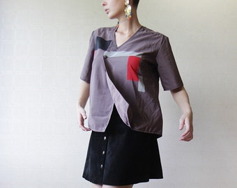 Grey abstract print one button wrap blouse