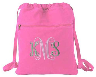 Fast Shipping - Monogram Cinch Sack, Canvas Backpack, Drawstring Bag, Monogram Canvas Bag, Canvas Bag, Cinch Sack Bag, Draw String Backpack