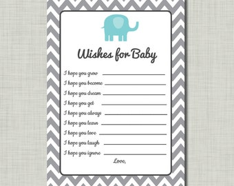 Elephant advice card on etsy a global handmade and for Wishes for baby printable template