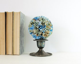 Origami Kusudama Paper Ornament - Paper Globe of Stars Modern Home Decor Recycled Map Paper Art Geometric Paper Sculpture Paper Anniversary