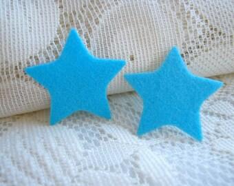 Blue Star Couple Felt Applique Iron on Applique Sky Blue stars baby shower kawaii applique shirt bag kid baby toys decoration