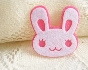 Pink White Rabbit Iron on Applique Cute White Rabbit,  felt applique, shirt decoration,kid, baby, toys, baby shower, school project, A14