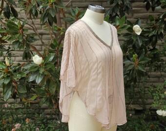 Rose pink pearl beaded top