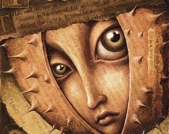 Pop surrealism sepia art print 8x8, Secluded Habits (Tincture): Shy face in thorny shell, Fantasy art with owl collage, Big eyed girl oddity
