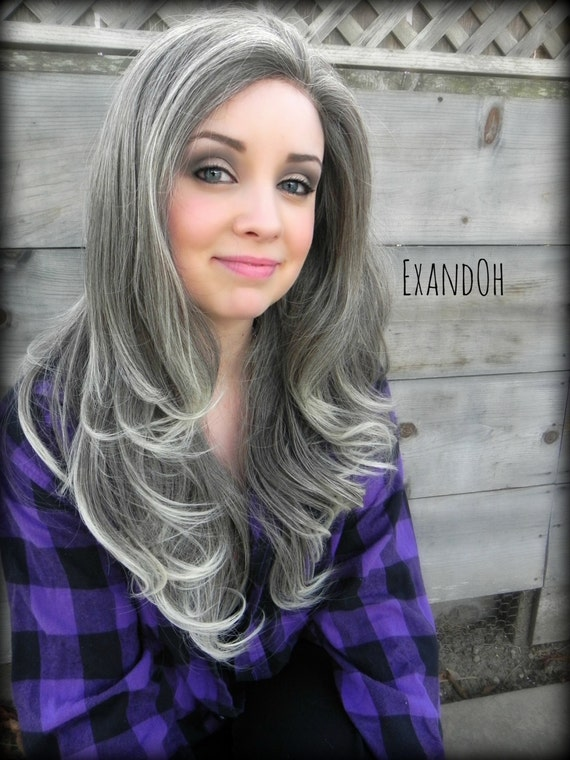 grey hair styles lace front wig grey hair grey and ombre by 6686