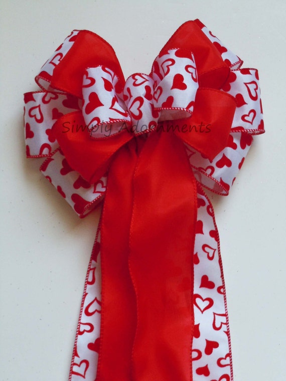 Bright Red Heart Valentines Wreath Bow Valentine Red Hearts Wedding Bow Valentine Gift Bow