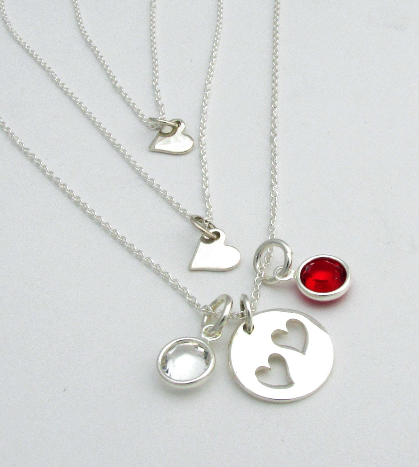 mother daughter necklace personalized with birthstones three. Black Bedroom Furniture Sets. Home Design Ideas