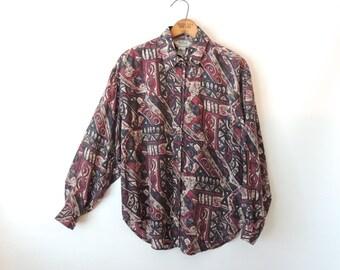 90s Abstract Silk Blouse / Oversized Silk Blouse / Silk Button Down / Abstract Print / 80s Geometric Print Shirt / Jonathan Martin / Medium
