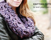 KNITTING PATTERN: Lattice Lace Cowl, DIY chunky quick infinity scarf