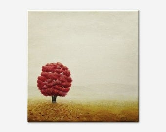 Autumn Tree Painting, Original Fall Landscape Art on Canvas, Gray Misty Field, Red and Grey Acrylic, 10 X 10