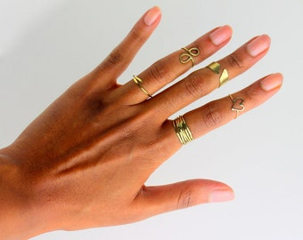 Handcrafted Stacking Rings. stackable ring, stacking rings, boho stacking rings, thin modern ring, skinny ring, skinny gold ring