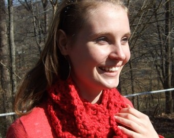 Infinity Scarf, Chunky, Crochet, Red, Lacy, women's circle scarf