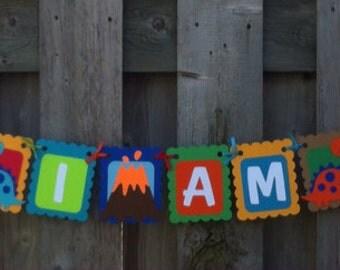 Dinosaur theme banner, roar I am four, fourth birthday, dinosaur party decorations, dinosaur birthday, cupcake toppers, favours