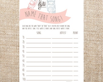 name that song baby shower printabl e game owl