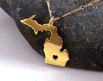 Michigan Necklace - 18K Gold Plated Necklace - State Necklace Gold Michigan - State Charm  - I heart Michigan - I love Michigan