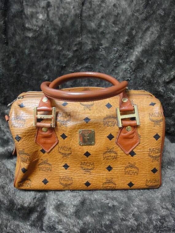 vintage mcm brown monogram duffle bag unisex use purse in