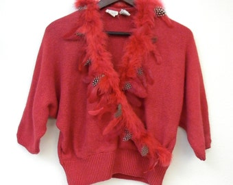 Vintage 80s Bonnie and Bill New York Hot Pink Fuschia Wrap Style Glam Feather Sweater