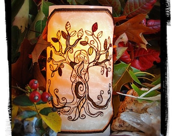 The Autumn Tree Goddess To Light Your Home. Embroidered Candle Wrap For LED Flameless Pillar Candles.