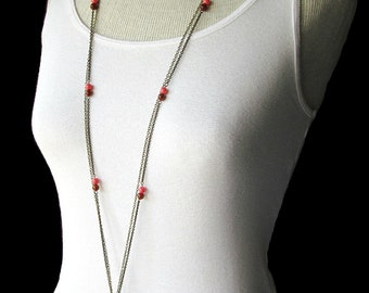 Long Bronze and Coral Pendant Necklace - Layered Stone Necklace - CLEARANCE