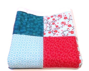 Baby Girl Quilt-Shabby Chic Nursery Decor-Crib Cot Cradle Blanket-Floral-Aqua Red White-Modern Patchwork-Trendy Chic