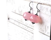 Pale Pink Earrings, Pink Agate Earrings, Sterling Silver Earrings, Baby Pink Jewelry, Rondelle Earrings, Vintage Style Drop Earrings Etsy UK