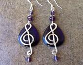 Dark Purple Treble Clef Earrings