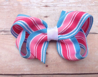 25% off SALE Pink & blue hair bow - striped hair bow, 3 inch boutique bow, girls hair bows, girls bows, toddler bows, pink hair bows