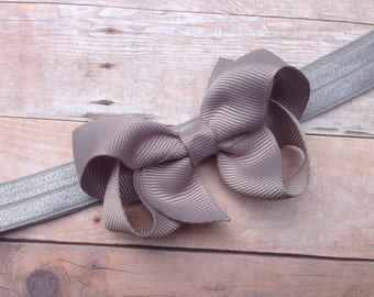 Gray headband - gray baby headband, gray newborn headband, gray bow headband, baby bow headband, baby girl headband, gray headband