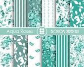 Aqua Digital Paper Pack Scrapbook, Aqua Scrapbooking Papers, Roses, Aqua Roses - INSTANT DOWNLOAD  - 1790