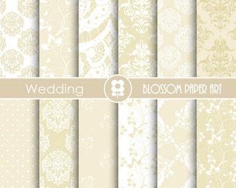 Wedding Digital Paper, Wedding Paper Pack, Damask Digital Paper Pack, Floral digital backgrounds, Floral, Damask Wedding Papers -1682