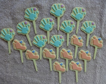 Cupcake Picks Cake Toppers 19 Baby Foot and Hand Print Boy or Girl Shower Party Favors Cake Decorating Supplies