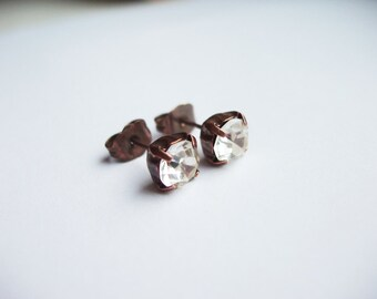 Crystal Earrings with Antique Copper. Crystal Jewelry. Rhinestone Earrings. Simple Posts for Everyday Use. Rhinestone Jewelry