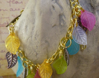 Rainbow Spring Leaves Bracelet