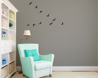 Flock of Geese Flying V Sihlouettes - Wall Decal Custom Vinyl Art Stickers