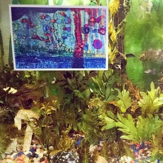 P17 - Impresssionism Guppies Fish Swimming Art Postcards for Postcrossing Mailing