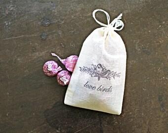 Wedding favor bags, 3x4.5. Set of 50 double drawstring muslin bags. Vintage bird design, Love Birds.