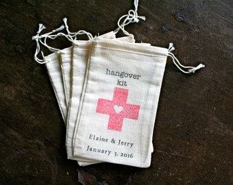 Personalized DIY Hangover Kit.  Wedding favor bags, muslin, 3x4.5. Set of 25.  Red cross with heart.