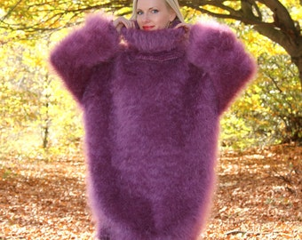 Long and fuzzy hand knitted mohair sweater dress by SuperTanya - XL, XXL size