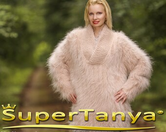 MADE TO ORDER Shawl collar fuzzy hand knit mohair sweater in pale beige by SuperTanya