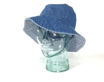 90s Denim Hat - Floppy Hat - Blue Jean Sun Hat - Wide Brim Hat - Bowler Hat