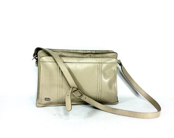Nude Leather Satchel - 1970s Leather Purse - Minimal Leather Bag - Crossbody Satchel