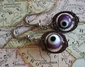"All profits to animal rescue! - Purple ""Evil Eye"" Malocchio earrings with antique silver settings"