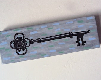 Key Painting - Gray Blue Green Wall Art - Skeleton Key Wall Decor - Acrylic Painting - Quirky Home Decor - Old Antique Key - Modern Abstract