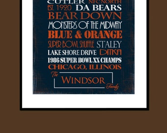 Chicago Bears Print or Canvas housewarming gift for couple