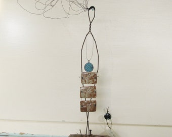 Breathe Wire Sculpture on Driftwood Mixed Media Inspirational OOAK Art