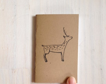 Small Notebook: Deer Notebook, Nature, Brown, Woodland, Kids, Fall, Gift, Unique, Journal, Christmas, Thanksgiving, Stocking Stuffer, KR199